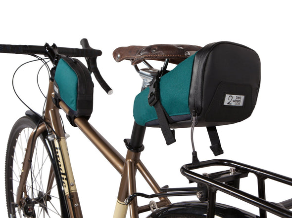 Two Wheel Gear - Top Tube Bag and Seat Pack on bike - Tofino Blue