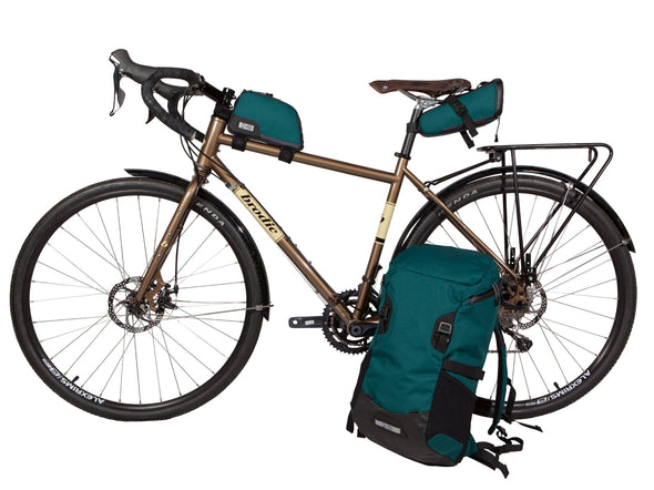 Two Wheel Gear - Commute Backpack, Seat Pack and Top Tube Bag on Bike - Tofino Blue