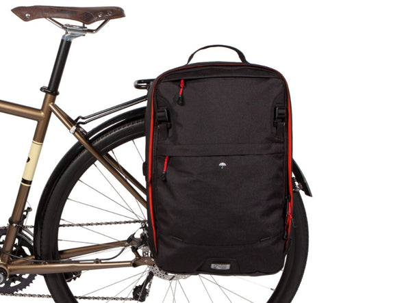 Two Wheel Gear - Pannier Backpack 2.0 - PLUS (30 L) - Black on bike