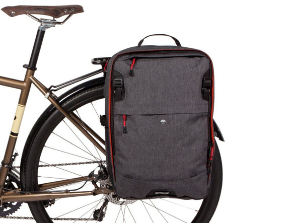 Two Wheel Gear - Pannier Backpack 2.0 - PLUS (30 L) - Graphite on bike