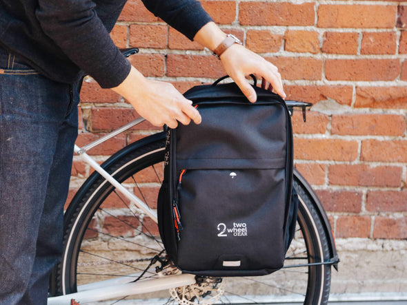 Black - Bike Bags - Pannier Backpack Convertible (2018) - Bicycle Laptop Bag
