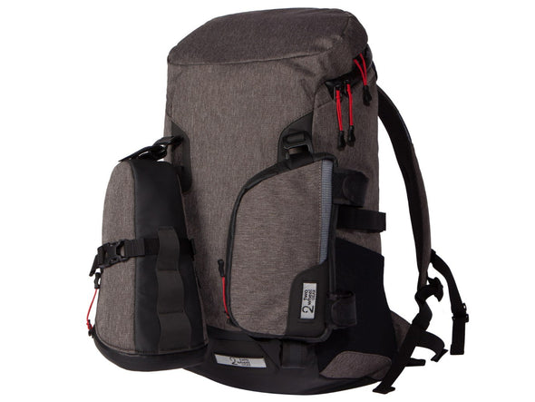 Two Wheel Gear - Commute Bike Backpack - With Modular Attachment System - Graphite Grey - With Small Bags Attached (4380809396294)