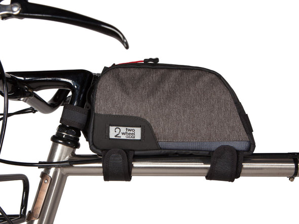 Two Wheel Gear - Commute Top Tube Bag - Graphite Grey - Side on Bike (4380869066822)