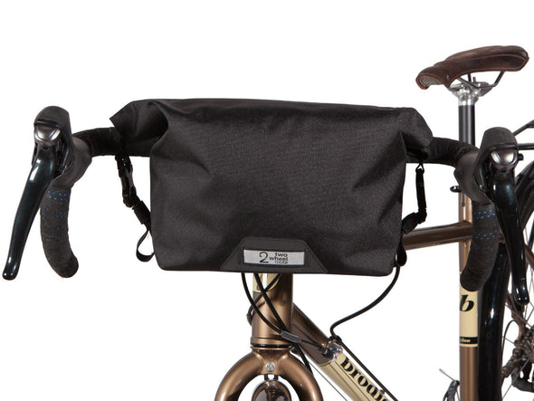 Two Wheel Gear - Dayliner Mini Handlebar Bag - Black - Front on Bike (4382909104198)