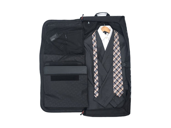 Two Wheel Gear - Garment Pannier - Classic 2.1 - Black - Bike Bag - Open with Suit (1556347519011)