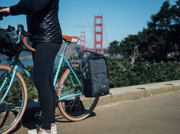 Two Wheel Gear - Pannier Backpack Convertible - Bike Bag - Graphite Grey - Woman Commuter - San Francisco (1556354138147)