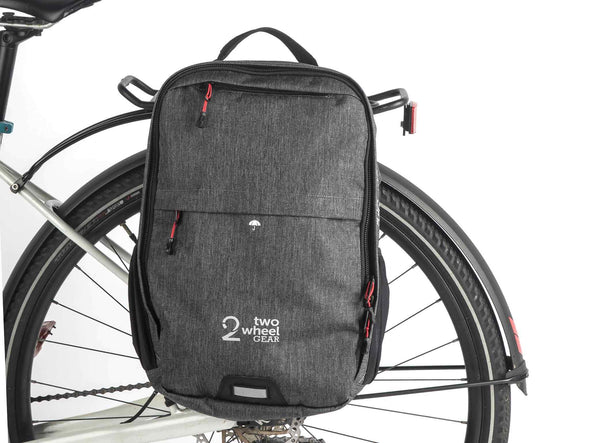 Two Wheel Gear - Pannier Backpack Convertible - Bike Bag - Graphite Grey - Mounted on Bike (1556354138147)