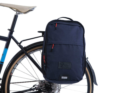 Two Wheel Gear - Pannier Backpack Convertible - Bike Bag - Military Waxed Canvas Overcast Blue - Mounted on Bike