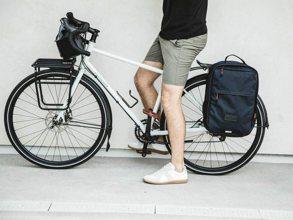 Two Wheel Gear - Pannier Backpack Convertible - Bag on Bike Commuter - Military Waxed Canvas Overcast Blue - On Bike Commuter (1550025621539)