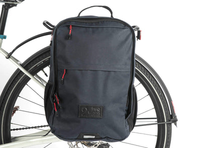 Two Wheel Gear - Pannier Backpack PLUS+ - Military Waxed Canvas Overcast Blue - Mounted on Bike