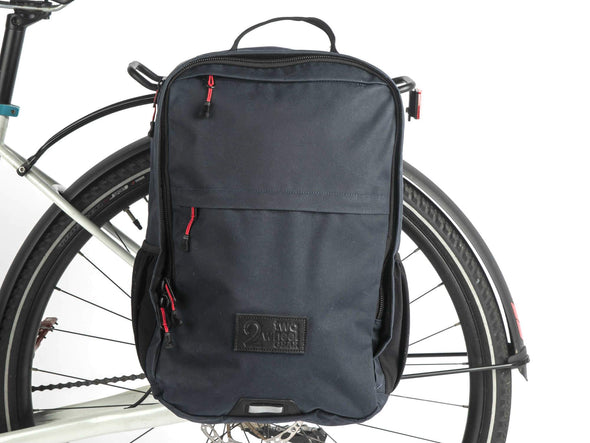 Two Wheel Gear - Pannier Backpack PLUS+ - Military Waxed Canvas Overcast Blue - Mounted on Bike (1550025621539)