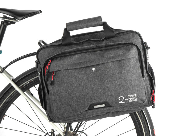 Two Wheel Gear - Pannier Briefcase Convertible 1.1 - Graphite Grey - Mounted on Bike (1597902520355)