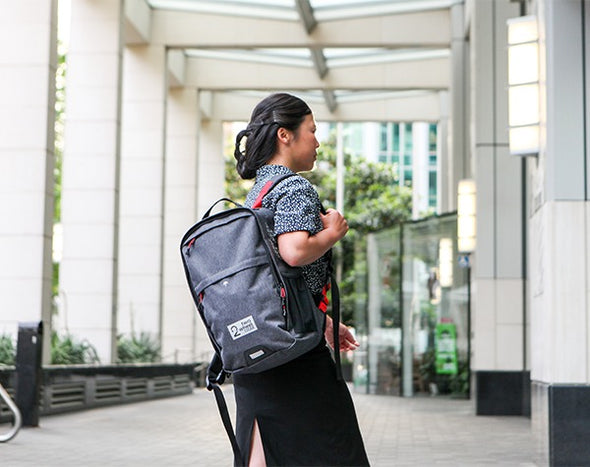 Bags - Pannier Backpack Convertible - Graphite - On Woman at Work