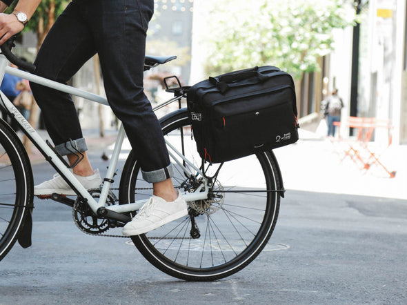 Black - Bike Bags - Pannier Briefcase Convertible (2018) - Bicycle Laptop Messenger