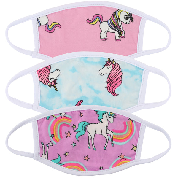 Childrens Washable Unicorn Print Variety Pack Cloth Face Masks-Made in USA- 3 Masks