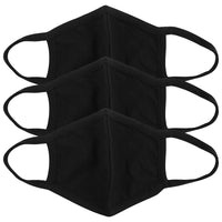 Adults Black Washable Cloth Face Masks - Pack of 3
