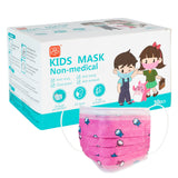 Kids Disposable 3 Ply Face Mask (Pack of 50) - Pink Print