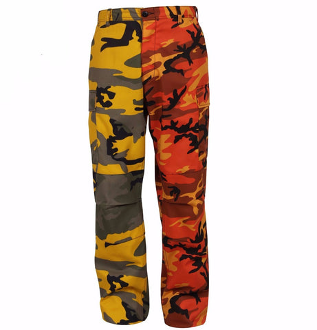 Rothco Color Two-Tone Camo BDU Pants - Orange / Yellow Camo