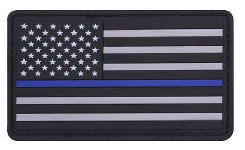 Rothco PVC Thin Blue Line Flag Patch - Hook Back