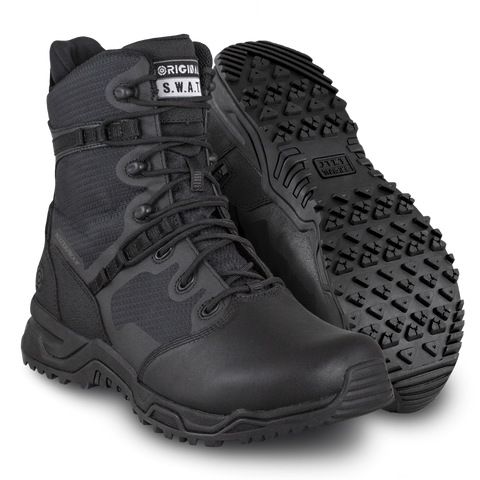 "Original SWAT Alpha Fury 8"" Polishable Toe Side-Zip WP Men's Boots"