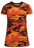 Rothco Women's Long Length Savage Orange Camo T-Shirt