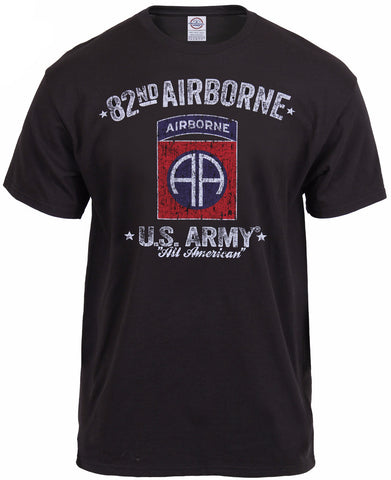 Rothco Black Ink Distressed 82nd Airborne T-Shirt