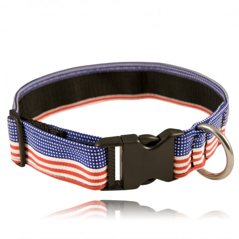 "Boston Leather 1 1/2"" Decorative Embroidered Collar, Patriotic"
