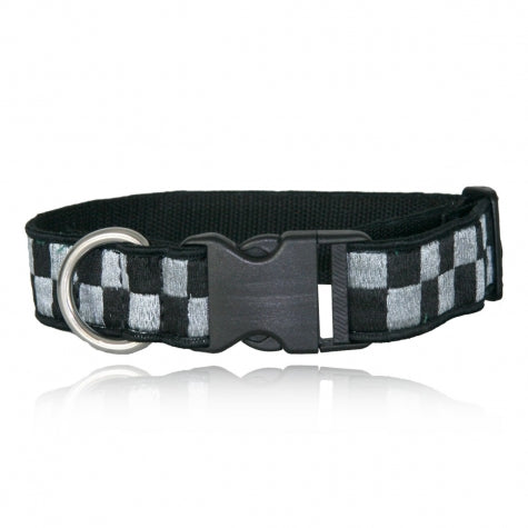Boston Leather 1 ½ Decorative Embroidered Collar, Silver/Black