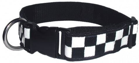 "Boston Leather 1 1/2"" Decorative Embroidered Collar, Navy/White"