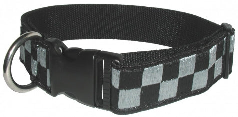 Boston Leather 1 ½ Subdued Embroidered Collar, Black/Gray