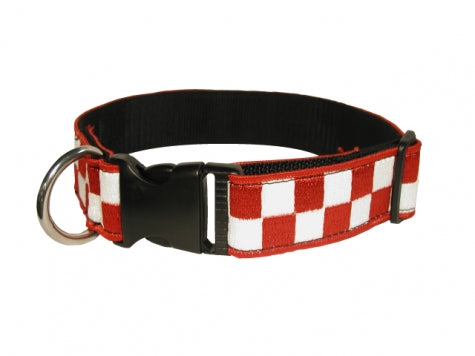 Boston Leather 1 ½ Decorative Embroidered Collar, Red/White