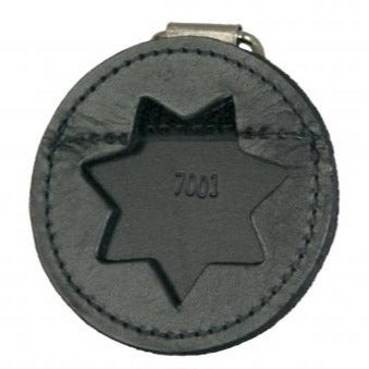 Boston Leather Round K-9 Badge Holder with D-Ring