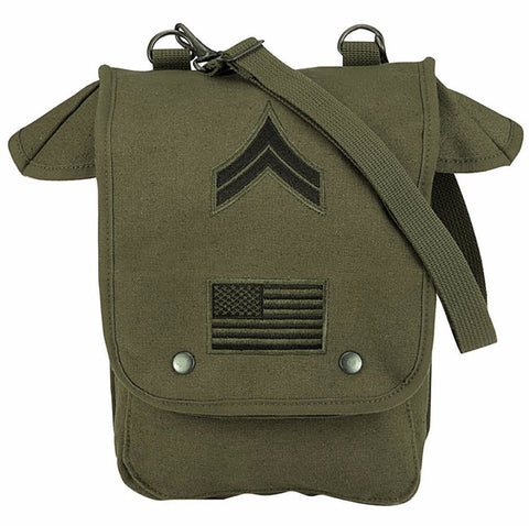 Rothco Canvas Map Case Shoulder Bag w/ Military Patches