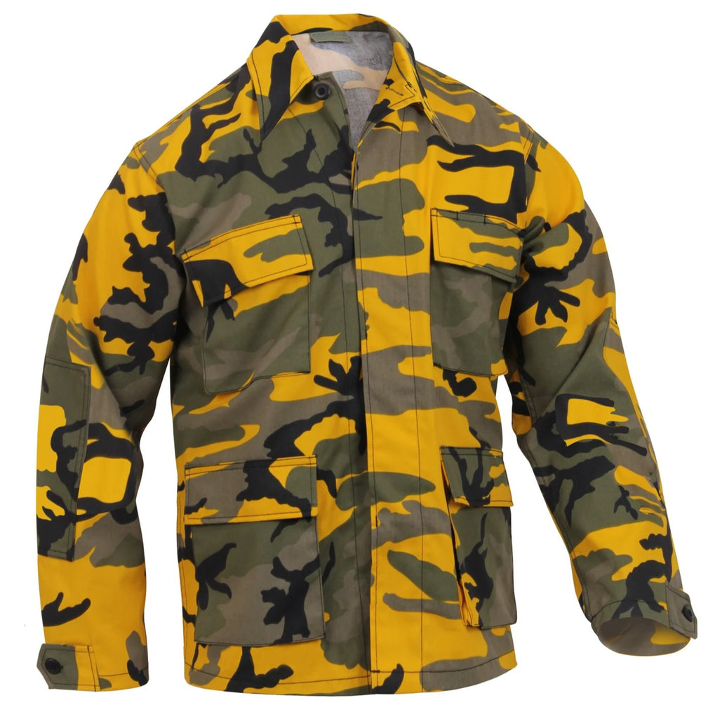 b1ccc2a0 Rothco Color Stinger Yellow Camo BDU Shirt ready to ship for $34.99. – Mad  City Outdoor Gear