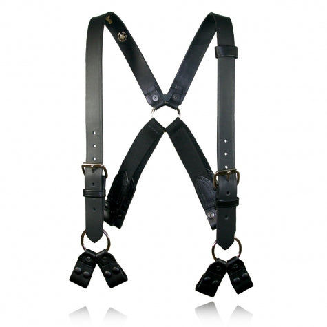 Boston Leather Firefighter's Suspenders, 8-Point Loop