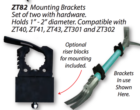 "Zak Tool Mounting Brackets, Pair w/ Hardware, Holds Objects 1"" - 2"" in Diameter - Mad City Outdoor Gear"