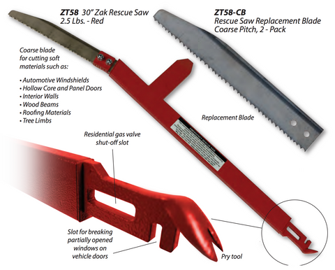 "Zak Tool 30"" Red Rescue Saw  2.5 lbs. - Mad City Outdoor Gear"