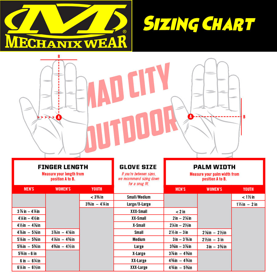 Mechanix Gloves Sizing Chart