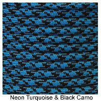 550 Paracord Type III - Neon Turquoise / Black Camo - Mad City Outdoor Gear
