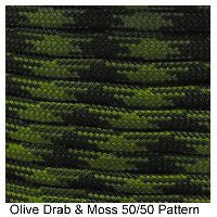 550 Paracord Type III - Olive Drab & Moss 50/50 Pattern - Mad City Outdoor Gear