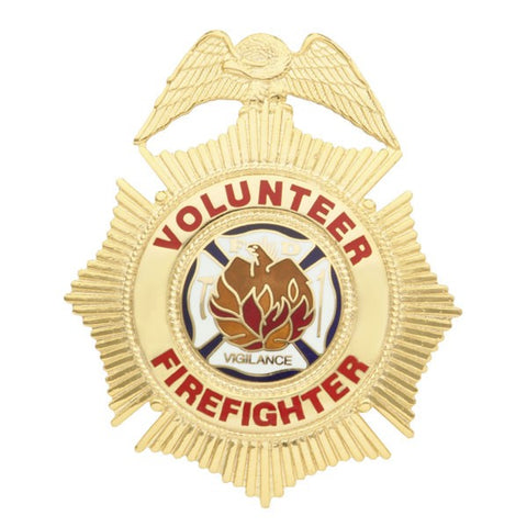 "Smith & Warren Volunteer Firefighter Sunburst Badge, 2-1/2"" x 3"""
