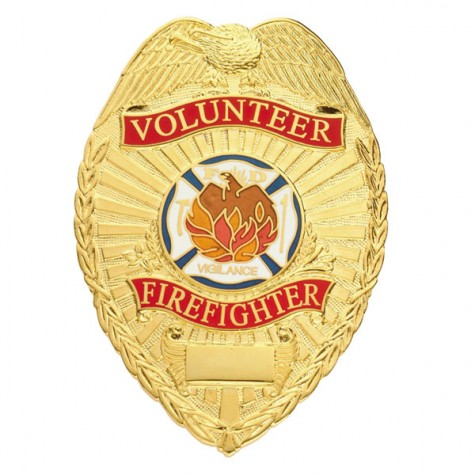 "Smith & Warren Volunteer Firefighter Tear Drop Badge, 2-1/4"" x 3-1/8"""