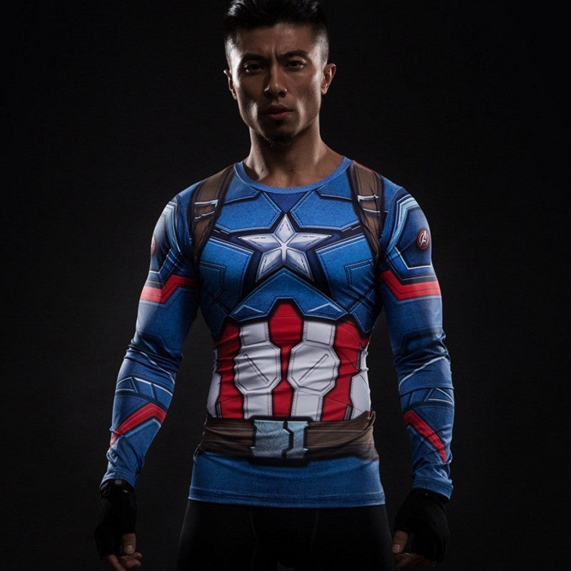 Captain America (Full Sleeve) Superhero Unisex Compression Shirt Compression Shirt Buy top quality Captain America (Full Sleeve) Superhero Unisex Compression Shirt Compression Shirt online in India at low price. get free shipping all across India Only at  Dot Aero