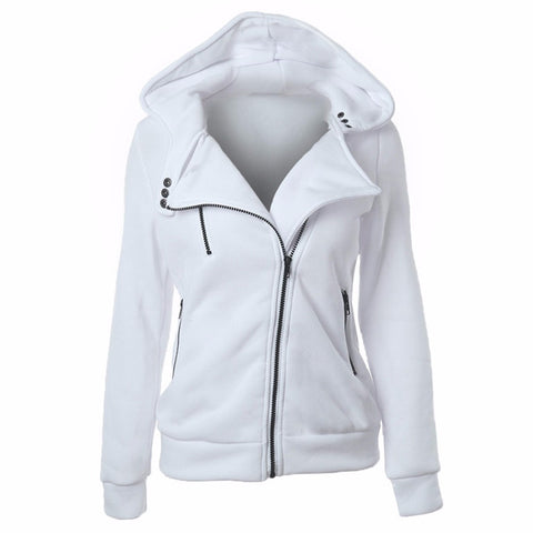 Zipper V Neck Long Sleeve Women's Hoodie