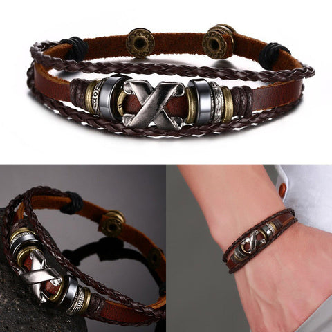 Vnox Brown Genuine Leather Bracelet