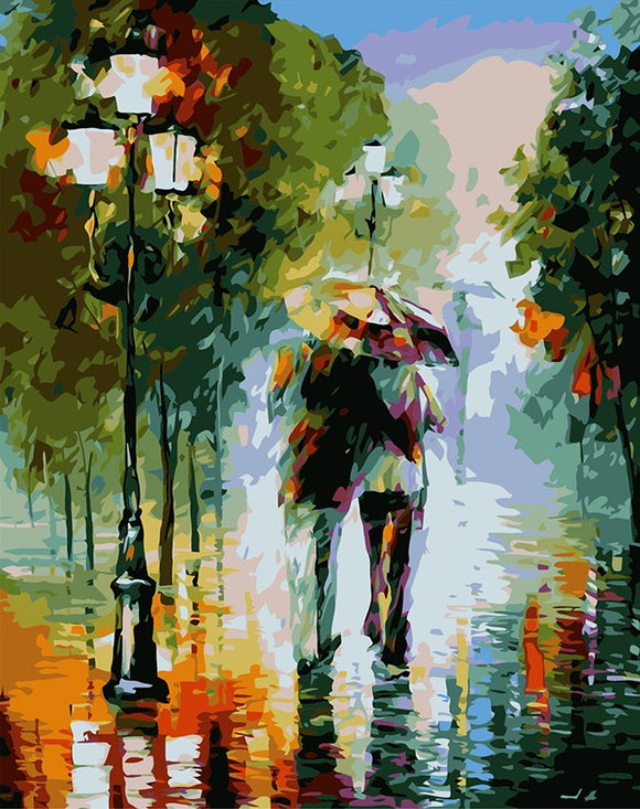 Walking in the rain - Paint by Numbers