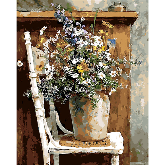 Still Life Flower Vase Paint by Numbers