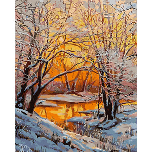 Sunset Under The Woods Paint by Numbers