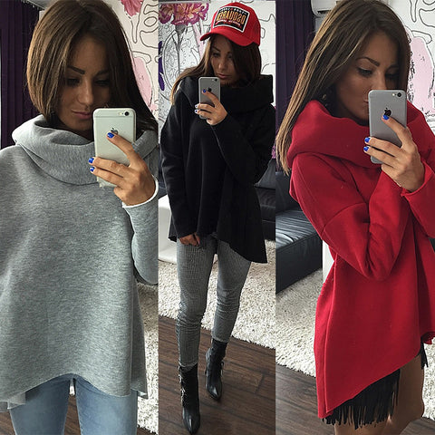 Kaywide Women's Scarf Collar Long Sleeve Hoodie Pullover