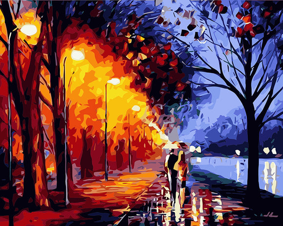 Walking in rain Paint by Numbers